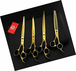Purple Dragon 8 inch Gold Professional Pet Grooming Scissors Dog Thinning She...