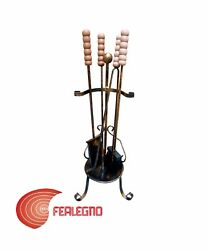 4PZ. TOOL SET FOR FIREPLACE MORE HOLDER WROUGHT IRON MOD. ALSACE ART.50411