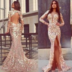 Sexy Open Back Split Mermaid Celebrity Carpet Party Pageant Evening Prom Dresses