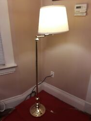 5' Polished Brass Floor Lamp with Adjustable Arm & Shade $38.00
