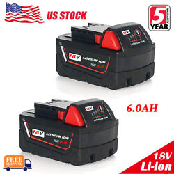 2x For Milwaukee M18 Lithium XC 6.0 AH Extended Capacity Battery Pack 48-11-1852