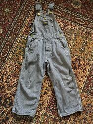 Vintage OshKosh Overalls Lot of 2 Railroad Stripe Flannel Lined Union Made 3T