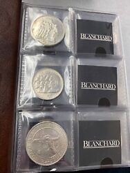 Lot of (10) Different 1951-1980 Foreign Crown Silver Coins in Blanchard Folder