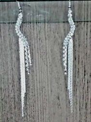 Claires Earrings Silver Bling Chandelier Drop Dangle Pierced $10.27
