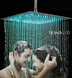 Brushed Nickel 16 Inch LED Square Stainless Steel Shower Head Rain Showerhead