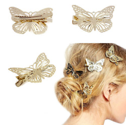 2PC Elegant Ladies Gold Butterfly Hair Clip Hairpin Wedding Barrette Accessories $1.44