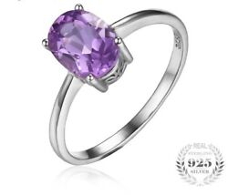 Natural Purple Amethyst Birthstone Solitaire Oval 1ct Rings 925 Sterling Silver