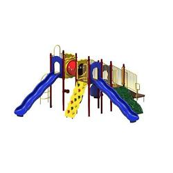 Blue Metal Boulder Point Commercial Playground Playset with Ground Spike