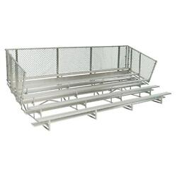 Aluminum 21 ft. 5-Row Portable Double Footboards Bleacher Frame with Chain Link