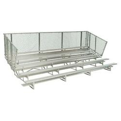 Portable Anodized Aluminum 15 ft. 5-Row Metal Bleacher Frame with Chain Link