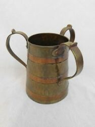 VINTAGE ARTS & CRAFT BRASS & COPPER BEER MUG RUSSIAN HAND MADE THREE HANDLE