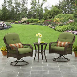 Outdoor Bistro Set 2 Chairs Table Patio Garden Furniture Wicker Glass Cushions