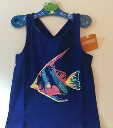 Gymboree Toddler Girl 5T Tank Top Blue Tropical Fish NEW!!