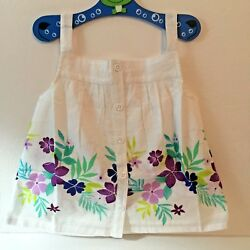 Gymboree Toddler Girl 5T Tank Top White Tropical Floral NEW!!!