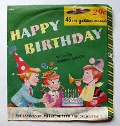 Happy Birthday 45 RPM Golden Record The Sandpipers Mitch Miller Marion Abeson