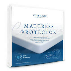 Mattress Protector Waterproof Luxury Bamboo Hypoallergenic Fitted Bed Cover Pad $33.95