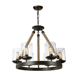 LNC Retro Rustic 6 Lights Chandelier for Kitchen Island Dining Room $449.99