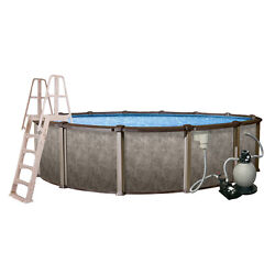 Taupe Vinyl Riviera 18-ft x 18-ft x 54-in Round Above-Ground Pool with Ladder