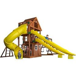 Pre-Stained All Cedar Traverse 1000-lb Load Capacity Surface Mounted Playset