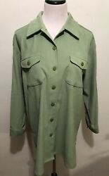 New York Co Shirt Women Size M Knit Top Tunic Over Sized Button Front Green $15.00