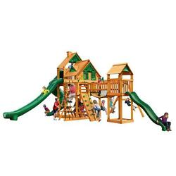 Brown Decay Resistant Cedar Wood Treehouse Swing Set with Amber Posts Playset