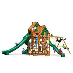 BrownTan Factory-Stained Cedar Treehouse Swing Set with Amber Posts Playset