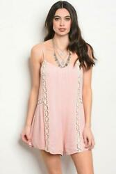 BLUSH CROCHET ROMPER BOHO PINK LOOSE FESTIVAL CHIC SMALL MED LARGE NWT $16.99