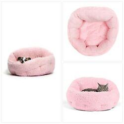 Pet Bed Dog Cat Winter Warm Soft Dish Sherpa Shelter Rescue Plush Nest Pink