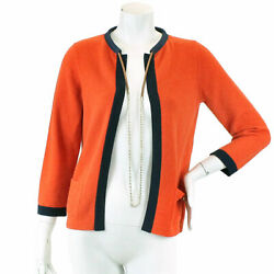 Auth CHANEL Cardigan Cashmere Knit Orange 36 P40 Women 90048600