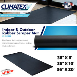 Heavy Duty Black Rubber Scraper Mat With Corrugated Ridges To Trap Mud And Water $44.99