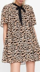 524a825e8824 ZARA Pleated Leopard Jumpsuit Dress. Mini Midi Maxi Shirt