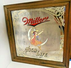 Classic Miller High Life Mirror Beer Sign - Girl  on the Moon LARGE WOOD FRAME