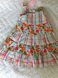 Gymboree Girls 18-24M Baby Hula Tropical Flower Plaid Pieced Ruffle Dress NWT