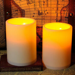 2x Flickering Flameless Resin Pillar LED Candle Lights w Timer for Wedding Party $9.99
