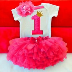 Baby Summer Girl Dress First 1st Birthday Cake Smash Outfits Sets Romper Tu Tu $20.73