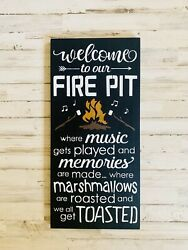 Welcome to our Firepit Fire Pit Welcome Sign Fire Pit Sign Campfire SignWood