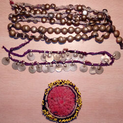 DIY Vintage Afghani Kuchi Old Buttons Coins Beaded Pendant $30.00