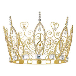 DcZeRong King Crowns Gold Men's Crowns For Adults Prom Pageant Party Rhinestone