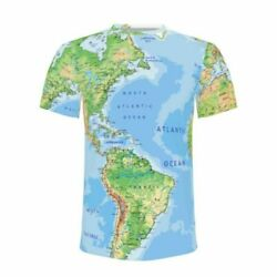 Men#x27;s World Map Earth Map All over Funny Print T Shirt Shirt Crew Neck Tees $13.99