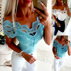 Women Short Sleeve Lace T Shirts Fashion Ladies Summer Casual Blouse Tops Shirt