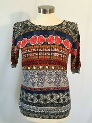 NEW Joseph A. Paisley Knit Pull-Over Sweater Top Size S $7.99