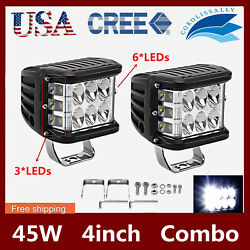 2X 45W 4INCH Cube LED Work Light Pods Triple Side Shooter Combo Beam OffRoad 90W $21.99