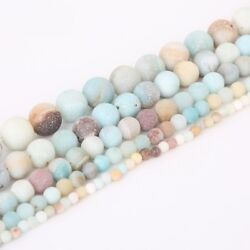46810mm Lot Natural Frosted Stone Loose Bead Bracelet Jewelry Manual DIY Hot