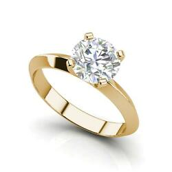 Knife Edge 2.5 Carat VS1H Round Cut Diamond Engagement Ring Yellow Gold