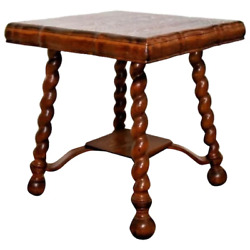 Antique Table Tiger Oak Thick Barley Twist Leg Pub style Fat Top Low shelf $895.00