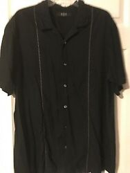 Axis LA Black Silk W Embroidery Button-Down Men's Short Sleeve Shirt Size Large  $16.98