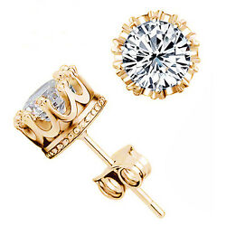 Hot Gold Plated Stud Crown Round Crystal Earrings 6mm CZ Cubic Zirconia Silver