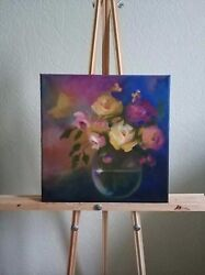 Handmade canvas Oil Painting 30x30 flowers in vase Modern Large Wall Art Decor $90.00
