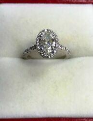 14k White Gold Oval Engagement Ring with Diamond Halo