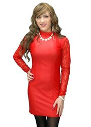 Red Mini Evelyn Dress with Lace Long Sleeves Crossdressers All Sizes $34.95